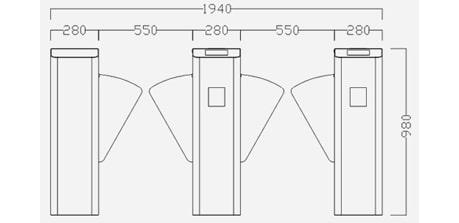 sơ đồ lắp đặt flap barrier turboo